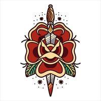 tatuagem de rosa e punhal vetor