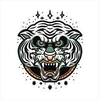 tatuagem de cabeça de tigre branco vetor