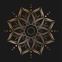 mandala de ouro com estilo flor vetor