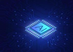 chip de inteligência artificial e linhas de conexão de rede vetor