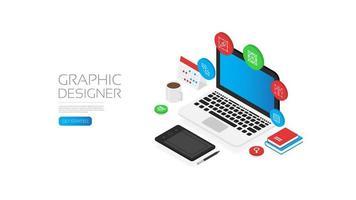 espaço de trabalho do laptop do designer gráfico isométrico vetor
