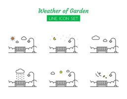 jardim conjunto de símbolos de ícone de linha meteorológica