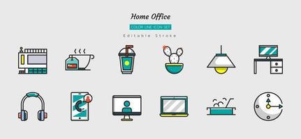 conjunto de símbolos de ícone de escritório em casa linha de cor preenchida vetor