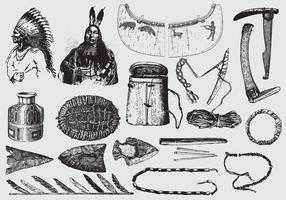 Ferramentas e ornamentos nativos americanos vetor