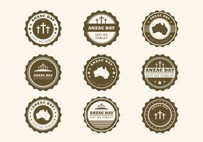 Vetor de emblemas vintage anzac