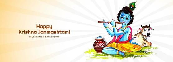 krishna janmashtami feliz tocando banner do festival de flauta vetor