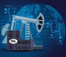 mercado de preços de petróleo com ícones de barris