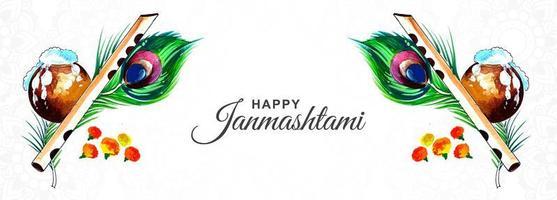 banner festival criativo feliz krishna janmashtami vetor