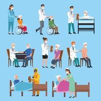 conjunto de equipe médica protegendo personagens idosos