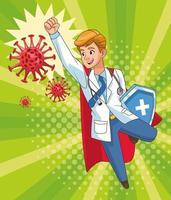 super médico voando vs covid 19 partículas vetor