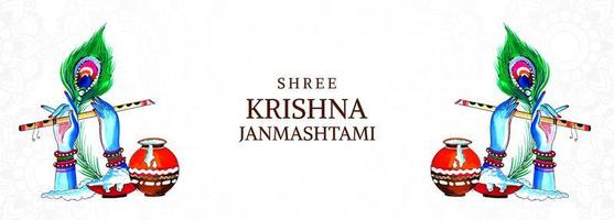festival feliz Krishna Janmashtami mãos e banner de flauta vetor