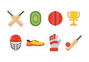 Conjunto grátis de ícones de cricket vetor