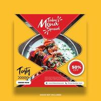 banner de comida de restaurante colorido amarelo para postagem em mídia social vetor