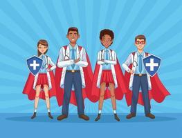 Equipe de superdédicos com mantos de herói e escudo