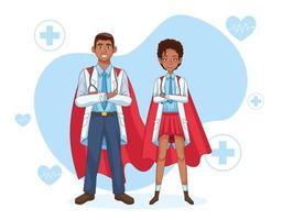 super casal de médicos com capa vetor