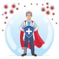 super médico com capa segura um escudo