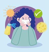 mulher com máscara protetora e ícones de vírus