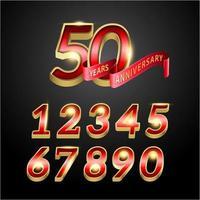 Números de aniversário de 50 anos vermelho e dourado
