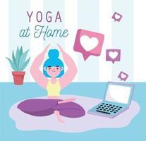 prática de ioga online vetor