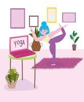 mulher fazendo yoga em casa vetor