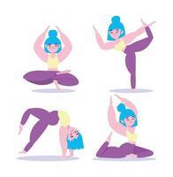 conjunto de ioga asana vetor