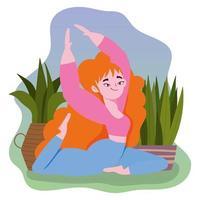 mulher praticando ioga vetor