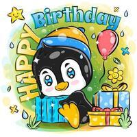 pinguim fofo comemora aniversário com presentes vetor