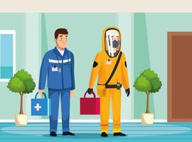 pessoa de limpeza de risco biológico e paramédico vetor