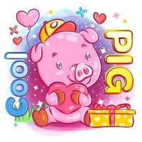 Porco legal se sentindo apaixonado e segurando um coração