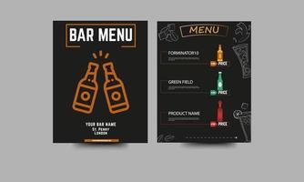 restaurante bar menu de bebidas em preto vetor