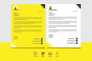 papel timbrado de canto de triângulo amarelo, preto e branco vetor