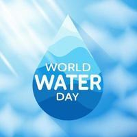 pôster do dia mundial da água com texto e gota d'água vetor