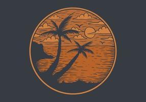 emblema do círculo com vista para a praia do pôr do sol vetor