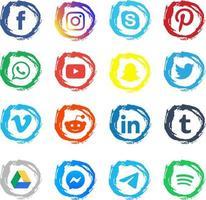 emblemas de redes sociais de pincelada colorida vetor