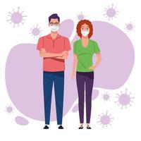 jovem casal usando máscara contra cobiçado 19 vetor