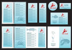 Modelos de menu de frutos do mar vetor