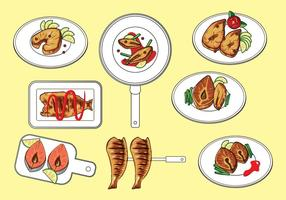 Vetor de peixe frito grátis
