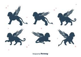 Vetor voado de silhueta do leão