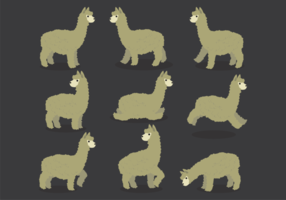 Vetores de desenhos animados de alpaca
