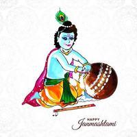 Senhor Krishna colocando a mão no mingau em um feliz fundo de Janmashtami