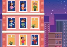 jovens ficam em casa em janelas de edifícios