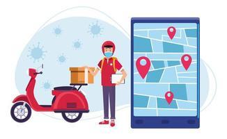 correio em serviço online de entrega de motocicletas com coronavírus vetor