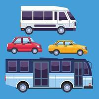 conjunto de veículos de serviço de transporte