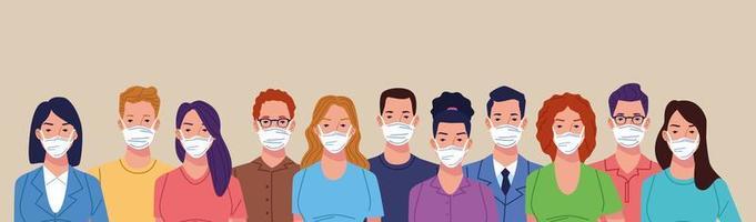 multidão de pessoas usando máscara facial para coronavírus vetor