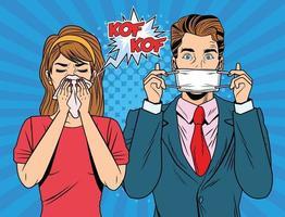 homem usando máscara facial e mulher doente