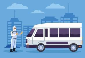 trabalhador de biossegurança desinfeta uma van contra coronavírus