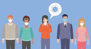 mulher doente com sintomas covid 19 e outros usando máscaras faciais
