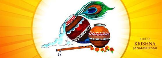 potes coloridos religiosos krishna janmashtami cartão banner design