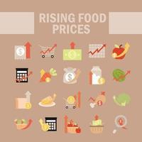 aumento dos preços dos alimentos conjunto de ícones vetor
