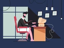 empresário trabalhando em casa vetor
